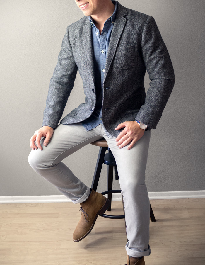 men tweed jacket chambray shirt gray jeans chukka boots outfit ideas