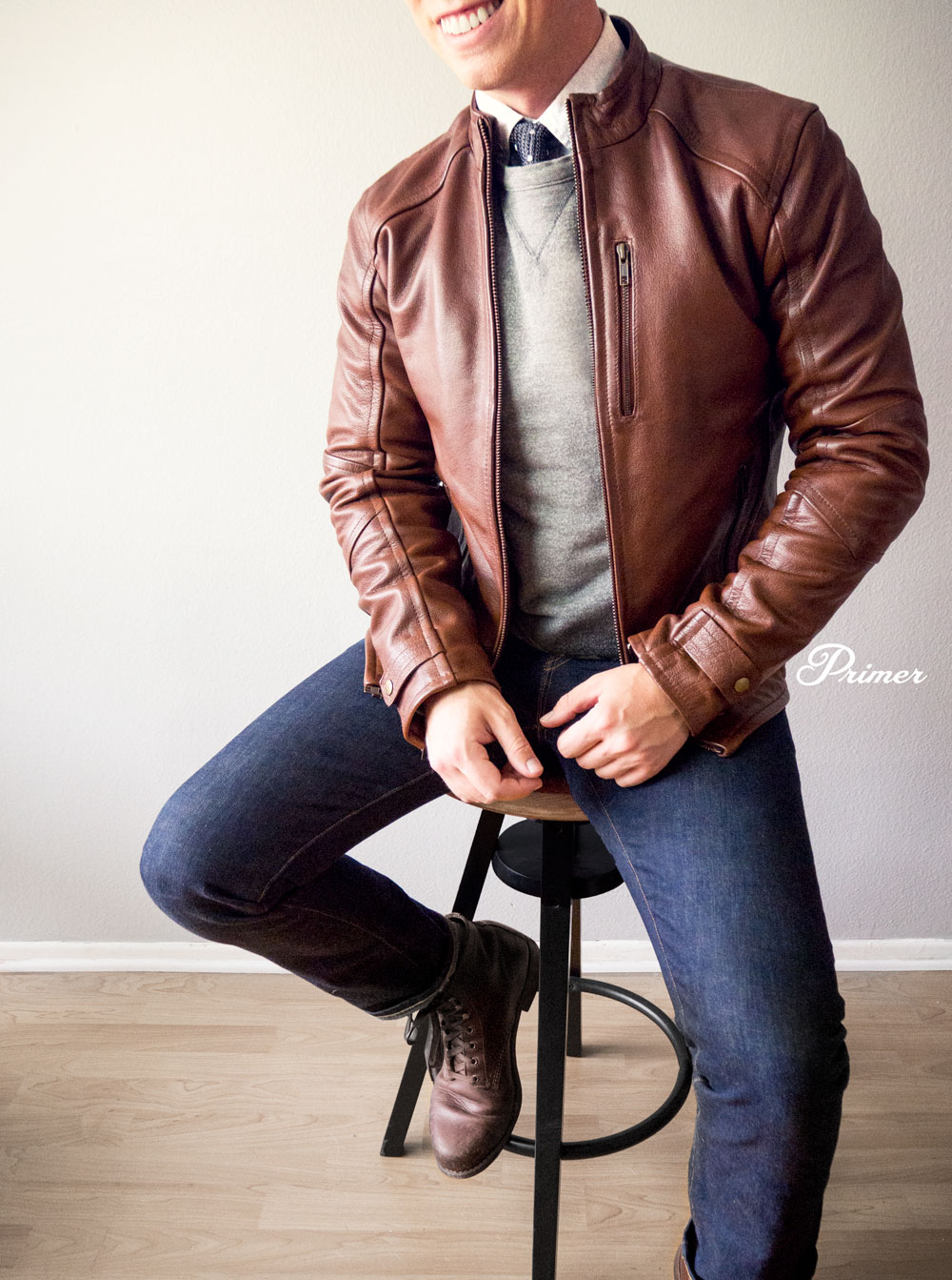 Fall Style Inspiration - Leather jacket with Tie