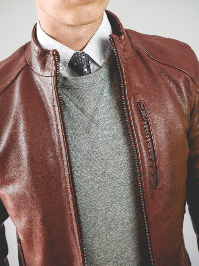 Leather jacket with tie