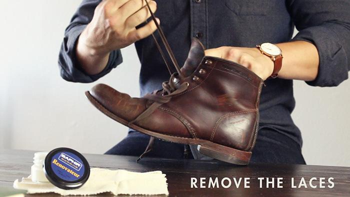 recondition 1000 mile boots - remove laces