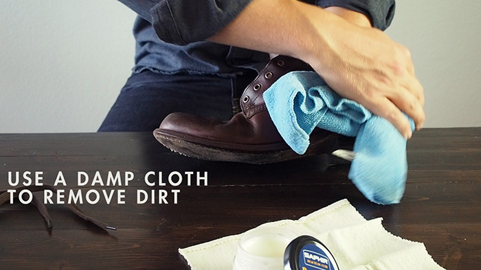 restore a pair of boots - wipe with damp cloth
