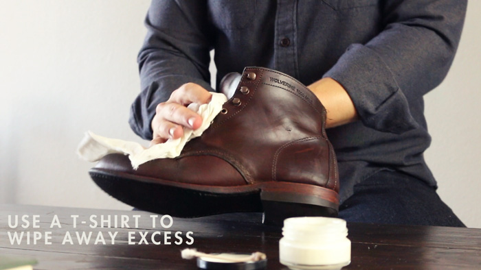 Use a t-shirt to wipe away excess shoe cream