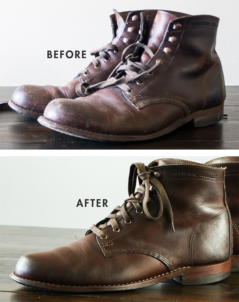 Before and After reconditioned boots