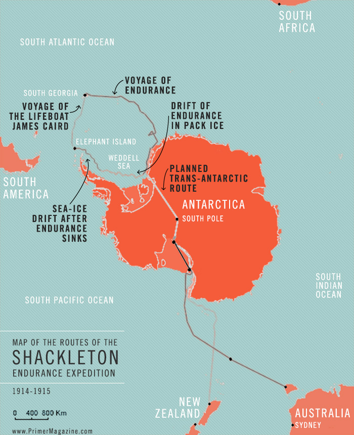 Shackleton Endurance Expedition map