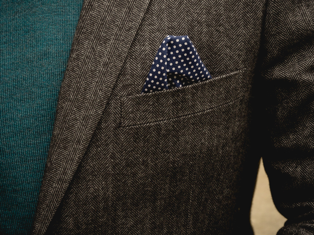 herringbone blazer with polka dot pocket square