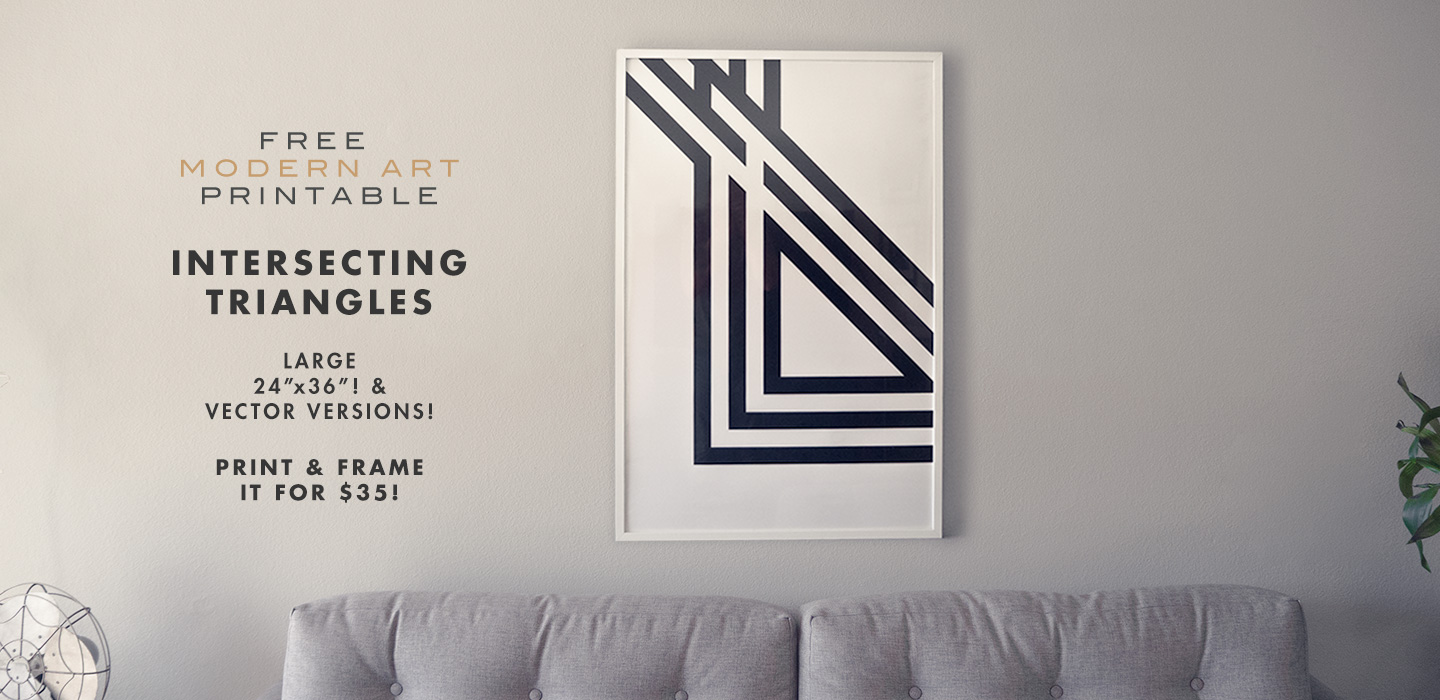 Free Modern Art Printable – Intersecting Triangles – 24″ x 36″ and Vector Versions!