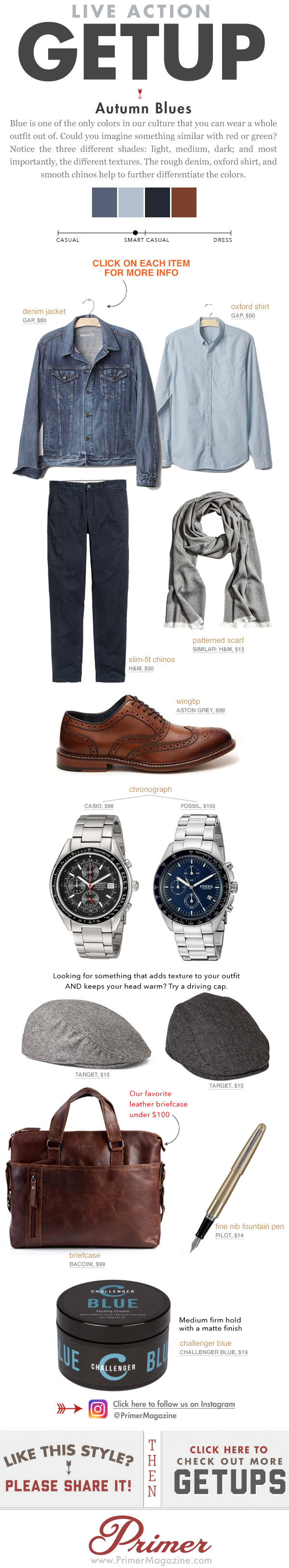 The Getup Autumn Blues outfit inspiration featuring denim jacket and wingtip shoes