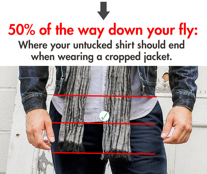 Where your untucked shirt should end when wearing a cropped jacket