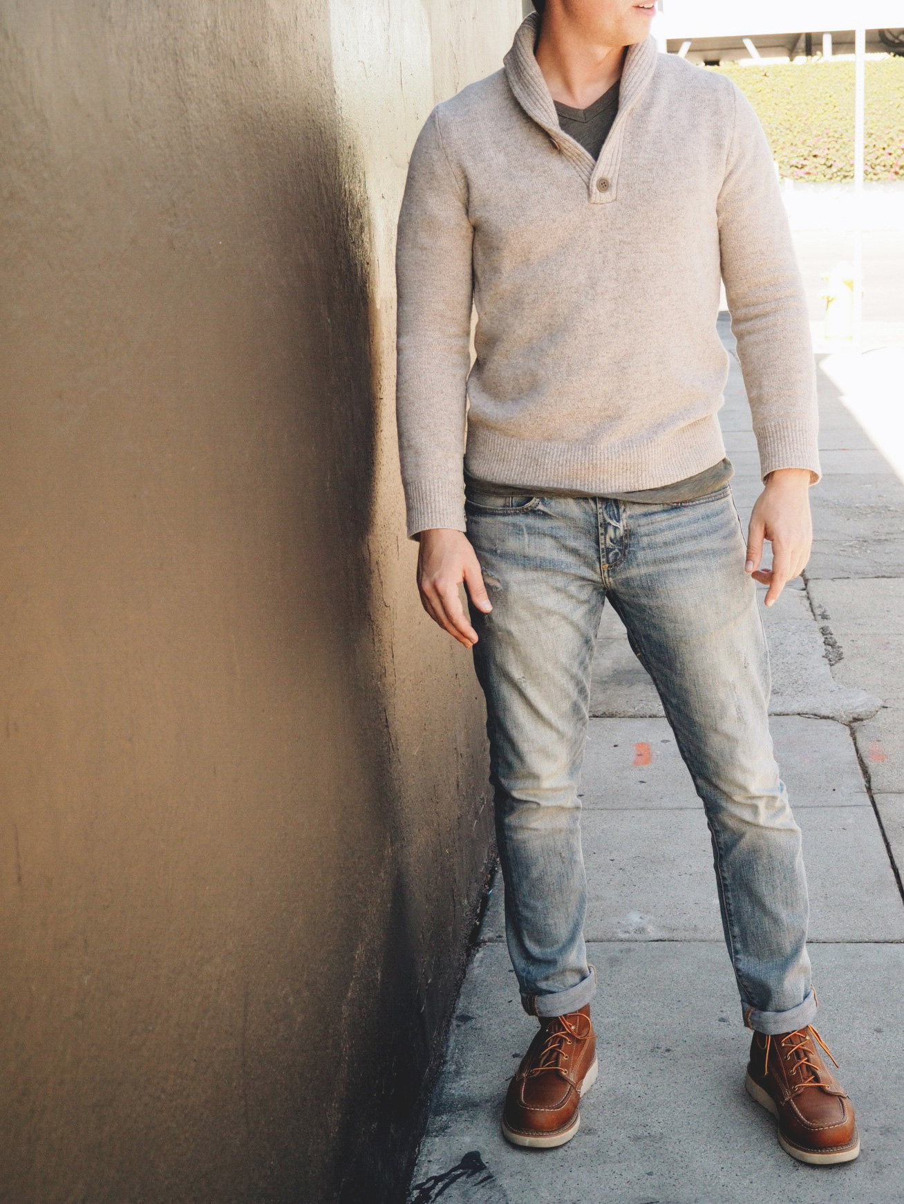 Casual shawl collar sweater outfit