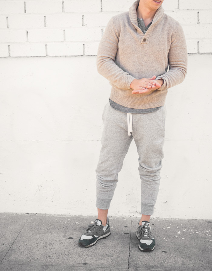 Shawl collar sweater with sweatpants outfit inspiration