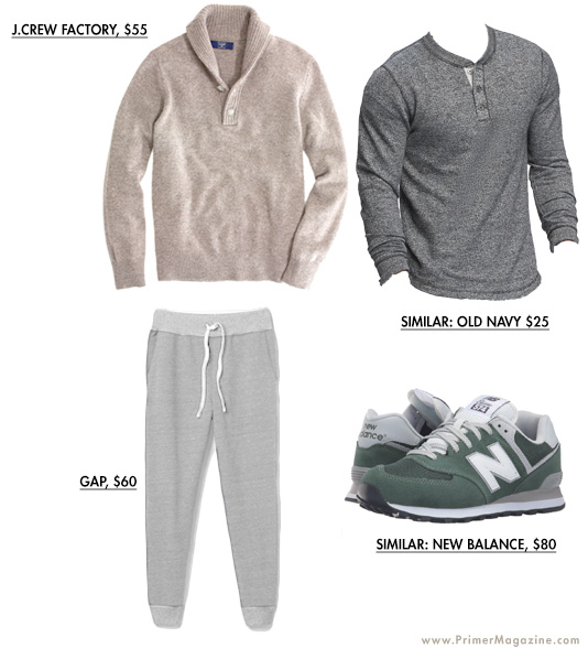 Tan sweater outfit example with sweatpants