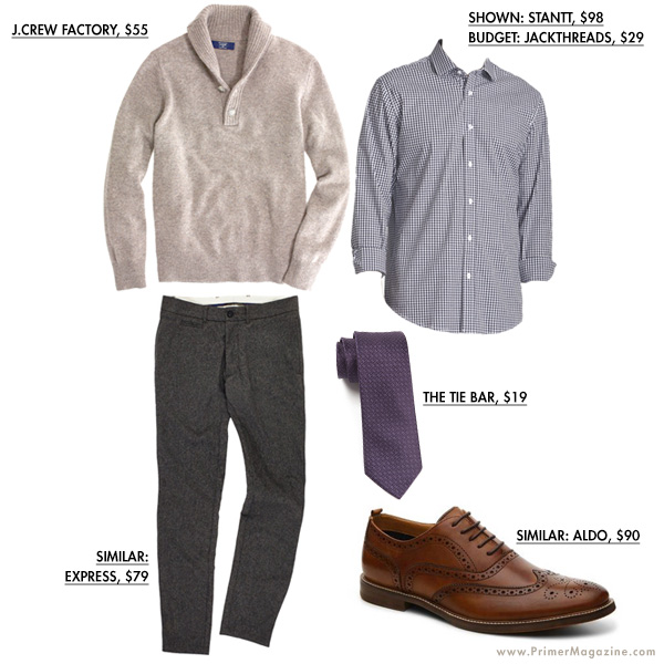 Tan sweater outfit example with dress shoes
