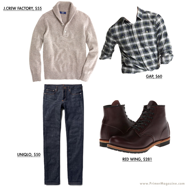 Tan sweater outfit example with boots