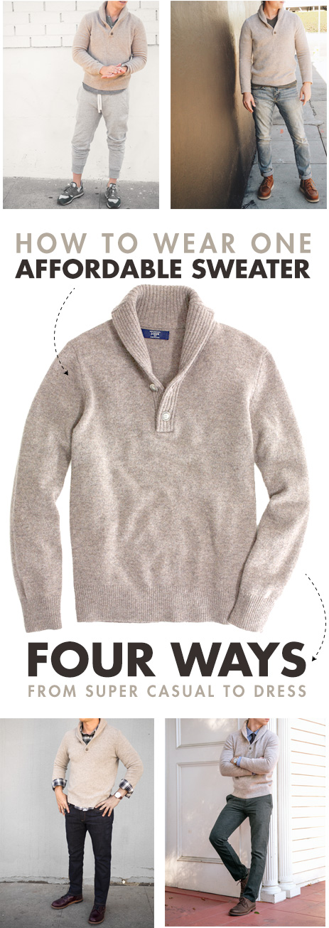 How to wear one sweater 4 ways   men's style inspiration