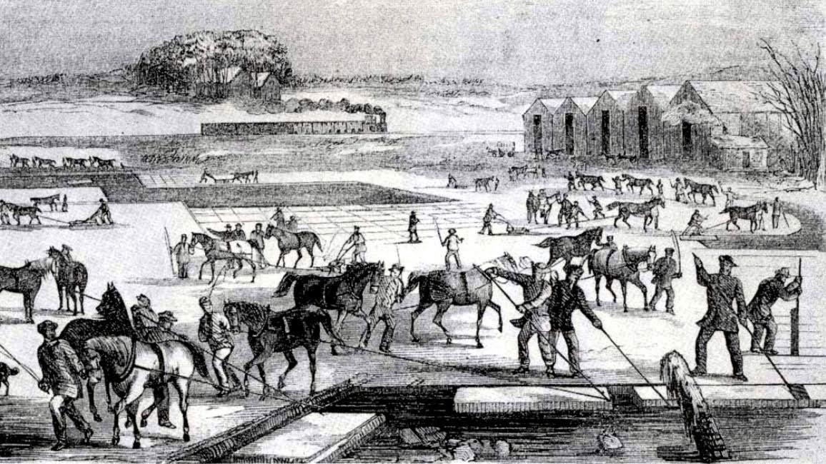 A vintage drawing of people on horseback