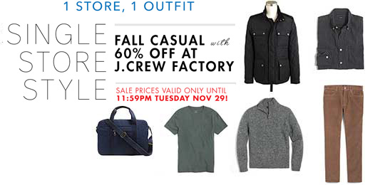 Single Store Style: A Fall Casual Outfit with 60% off at J.Crew Factory