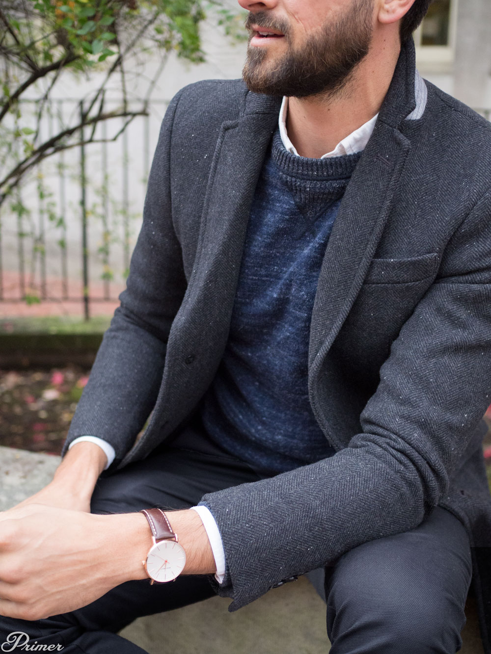 Men Winter Fashion Inspiration - topcoat brathwait watch blue sweater