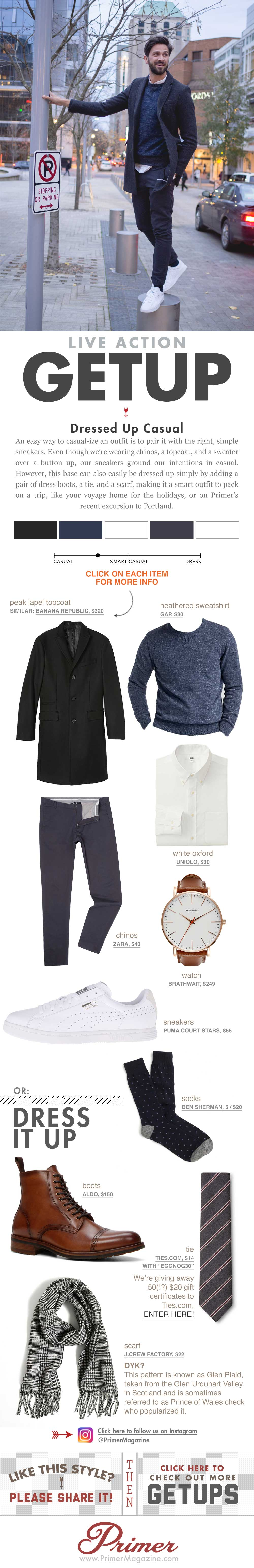 The Getup Dressed up Casual - inspiration with topcoat, chinos, and sneakers