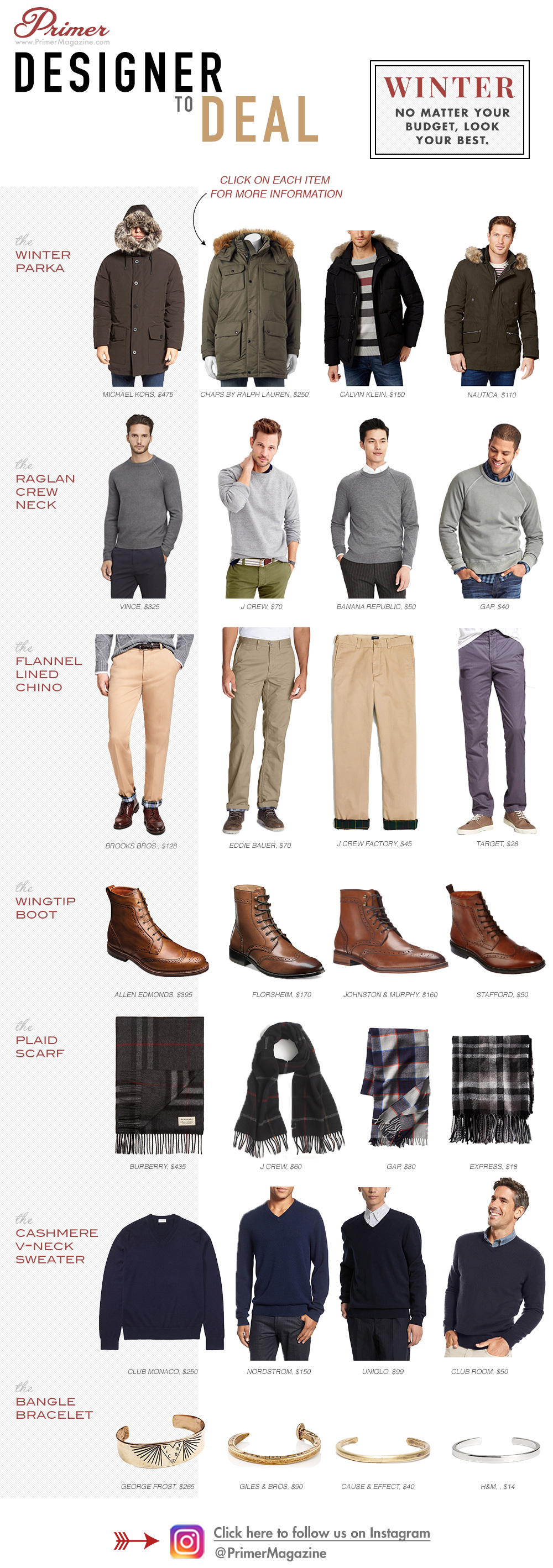 Designer to Deal winter - options for sweaters, pants, boots, scarves