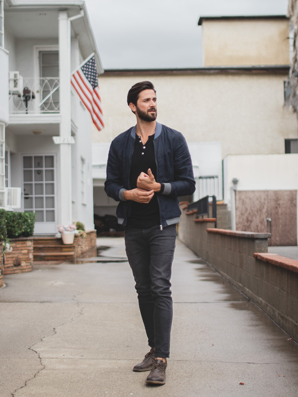bomber jacket henley gray jeans brown boots - men's fashion ideas