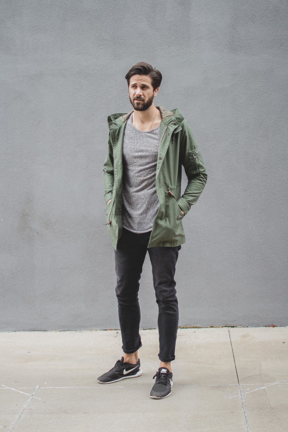 alpha industries jacket - gray shirt - gray jeans - nike sneakers