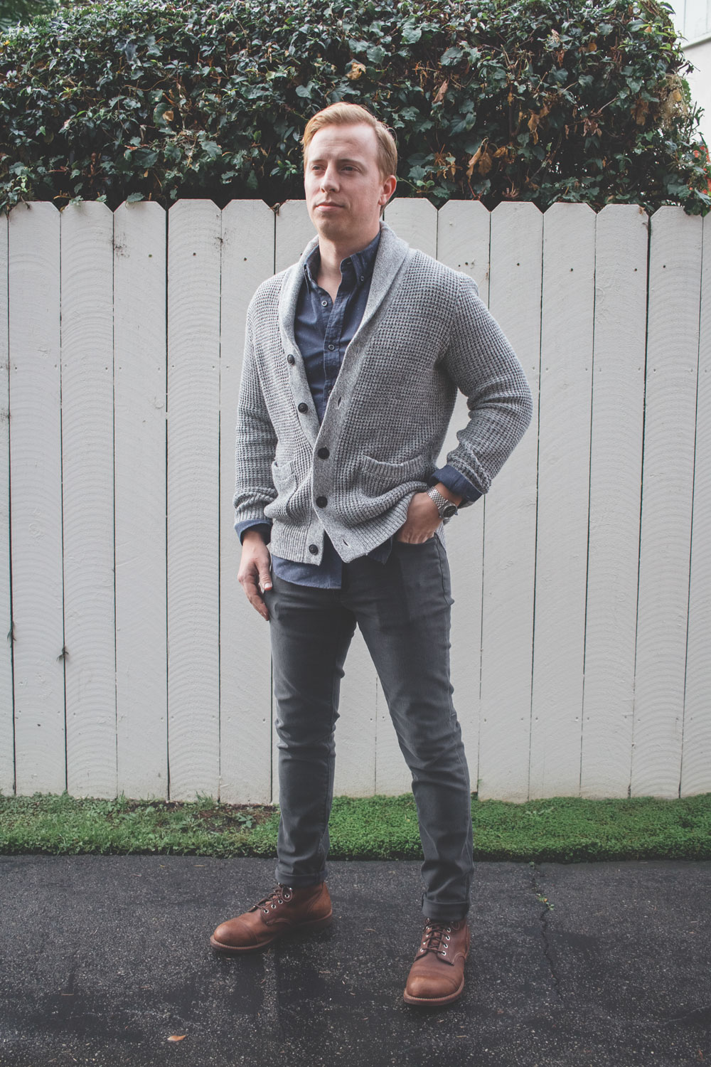 shawl collar cardigan blue shirt gray jeans red wing iron ranger