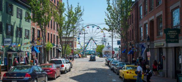 Spring city scene in Portland, ME