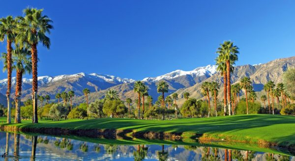 Golf course and mountains of Palm Springs, CA