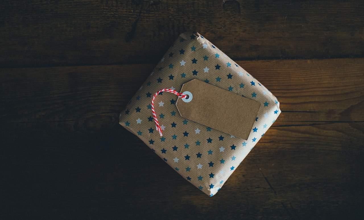 gift wrapped on wood table