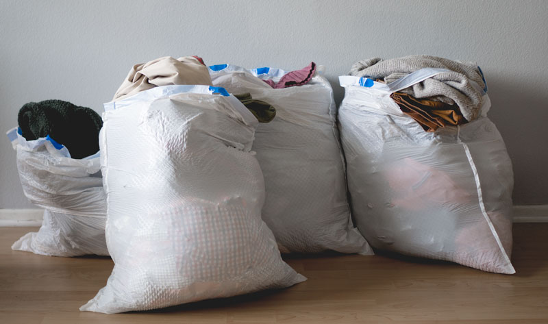 donated clothing bags for closet organization ideas