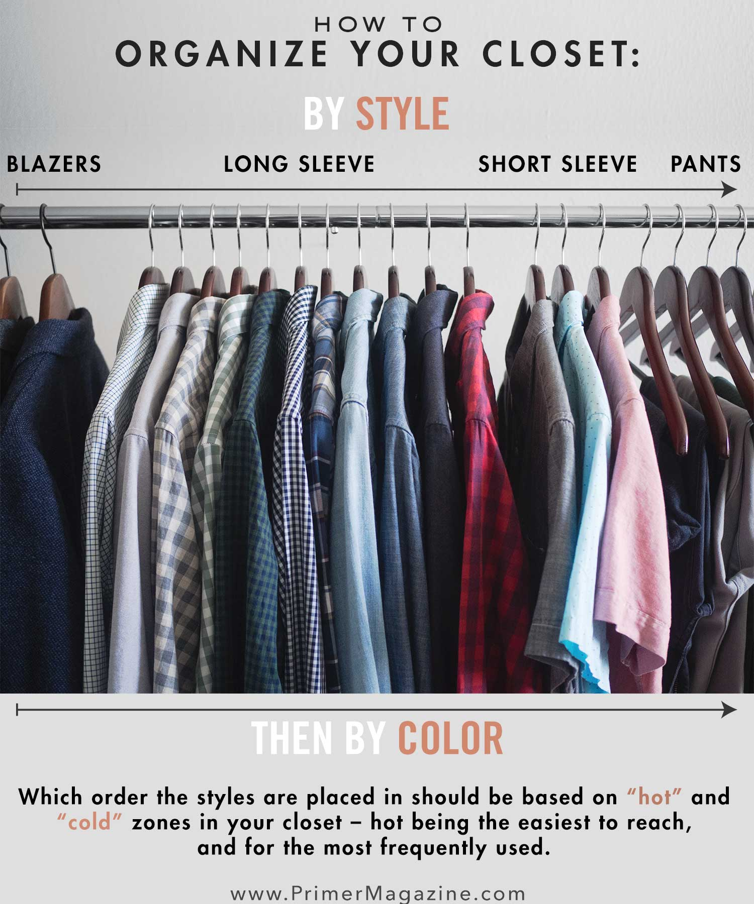 how to organize clothing in a closet