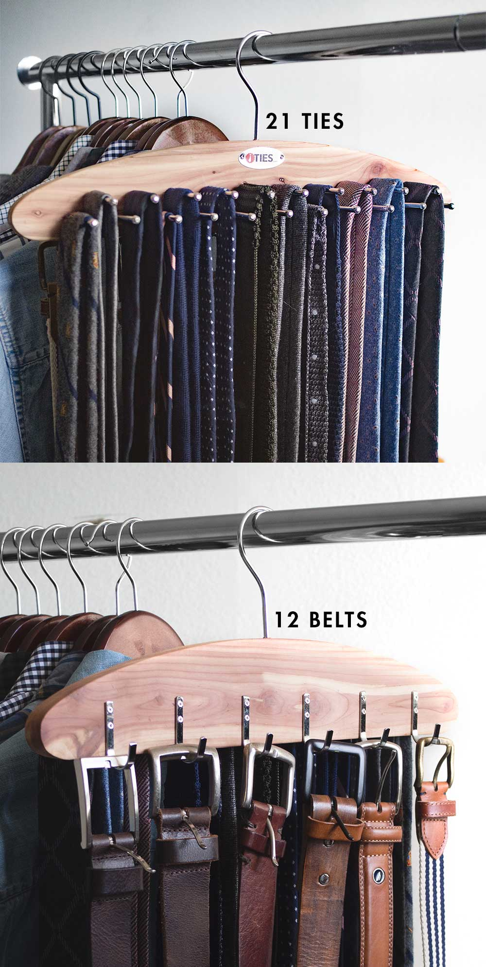 Horizontal hanging tie rack from Ties.com: closet organization ideas
