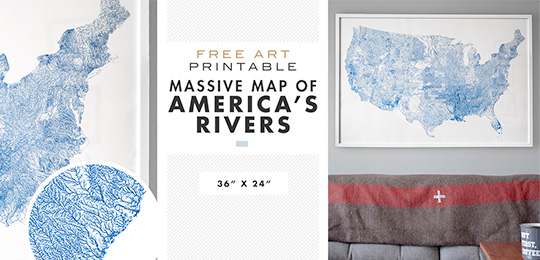 Free Art Printable: Massive Map of America's Rivers – 36″ x 24″
