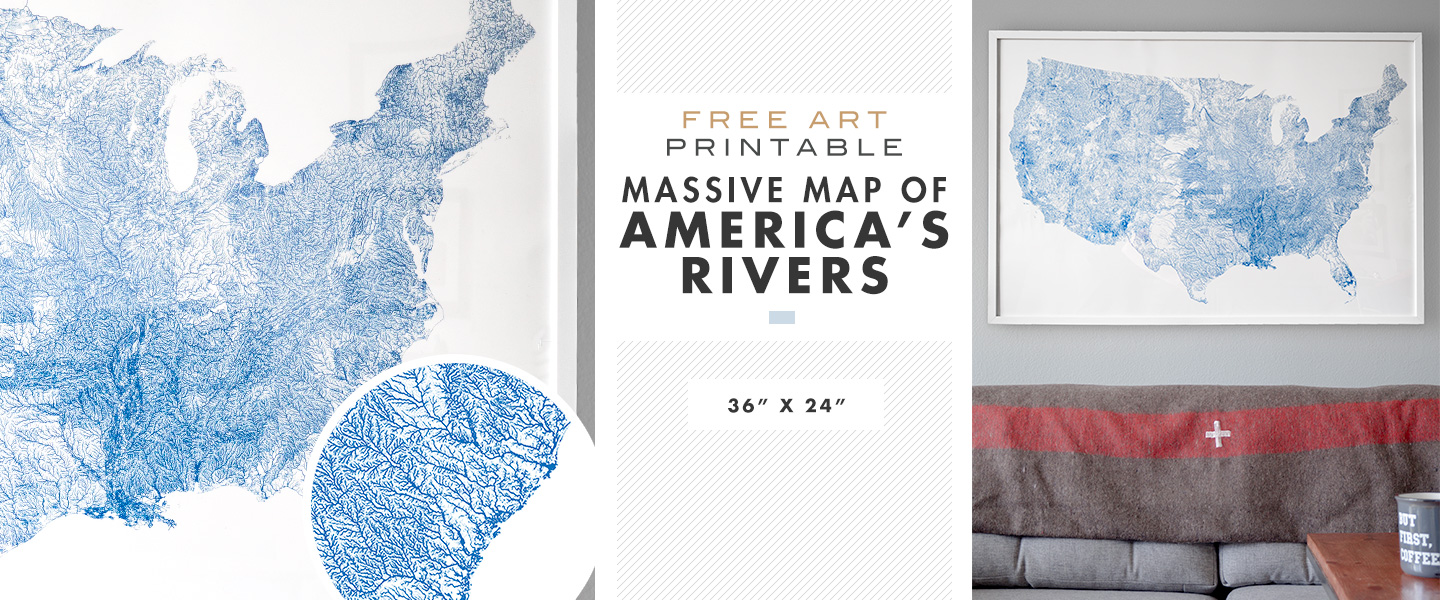 Free Printable Wall Art Massive Map Of America S Rivers 36 X 24