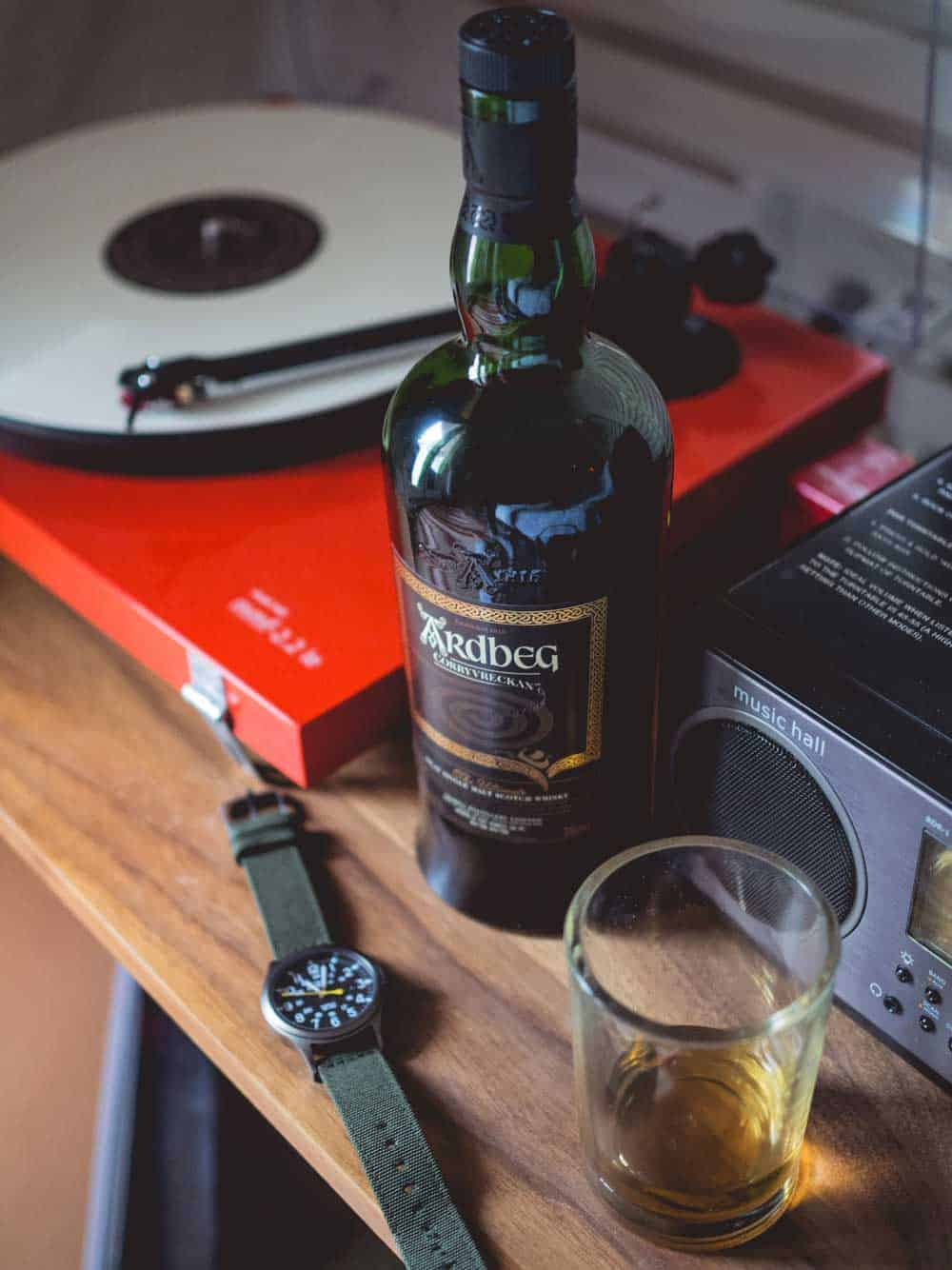 Ardbeg Corryvreckan - timex expedition - record player