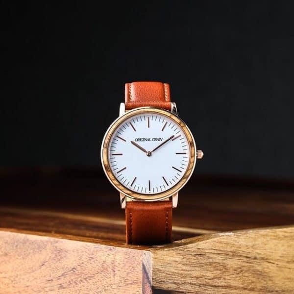 Original Grain zebrawood and rose gold watch