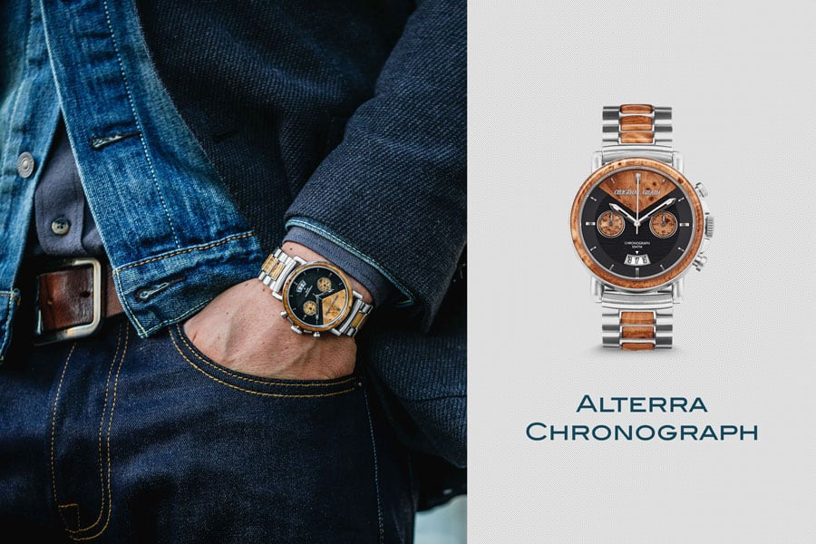 Fashion forward wood and stainless steel chronograph style watch from original grain