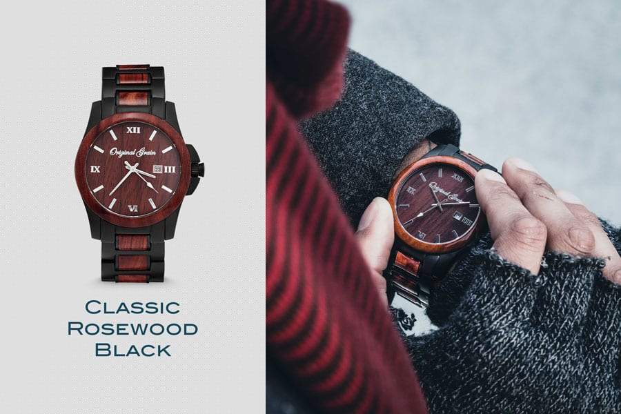 Rosewood and black steel watch by original grain