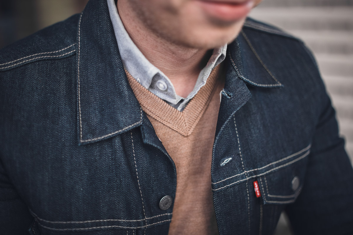 denim jacket vneck