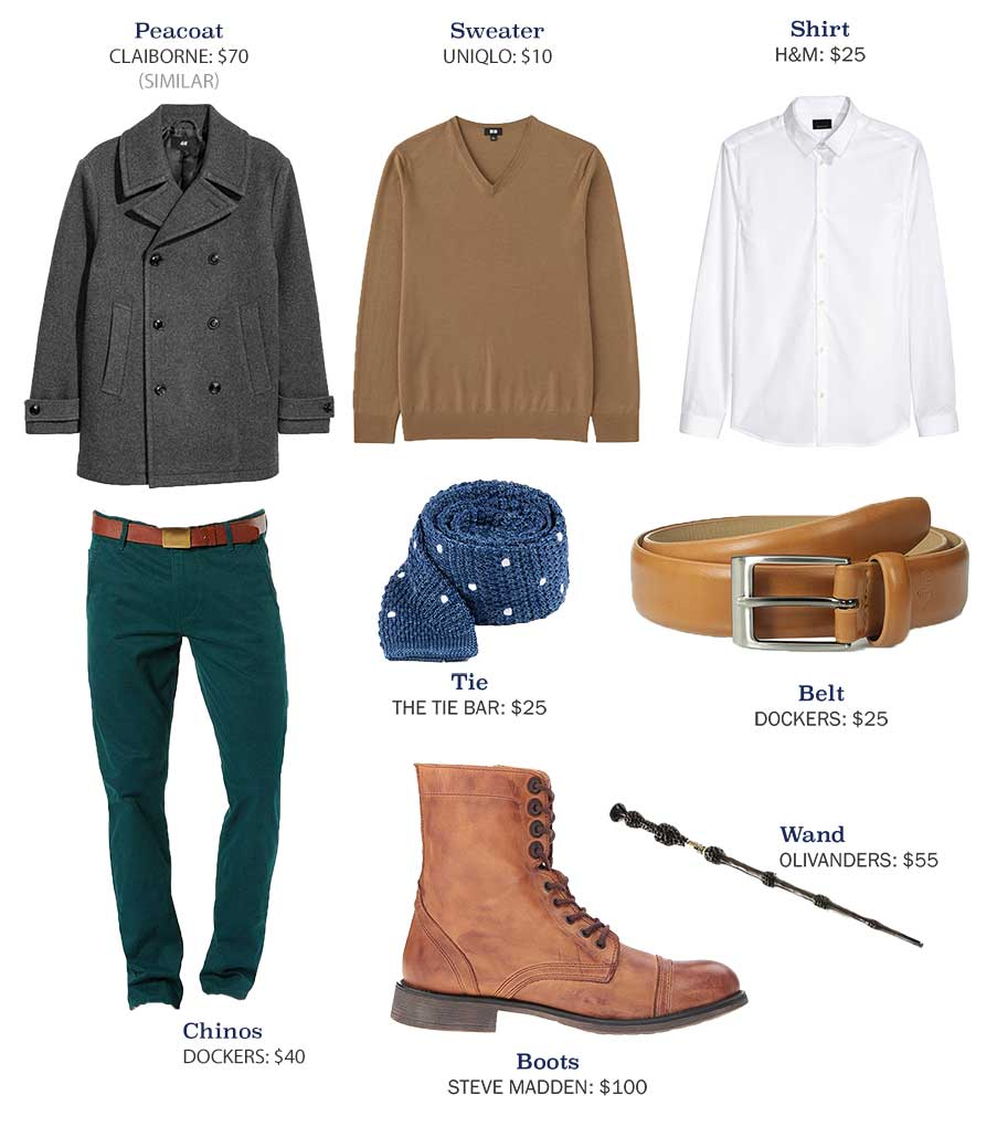 An outfit made with gray pea coat and green pants
