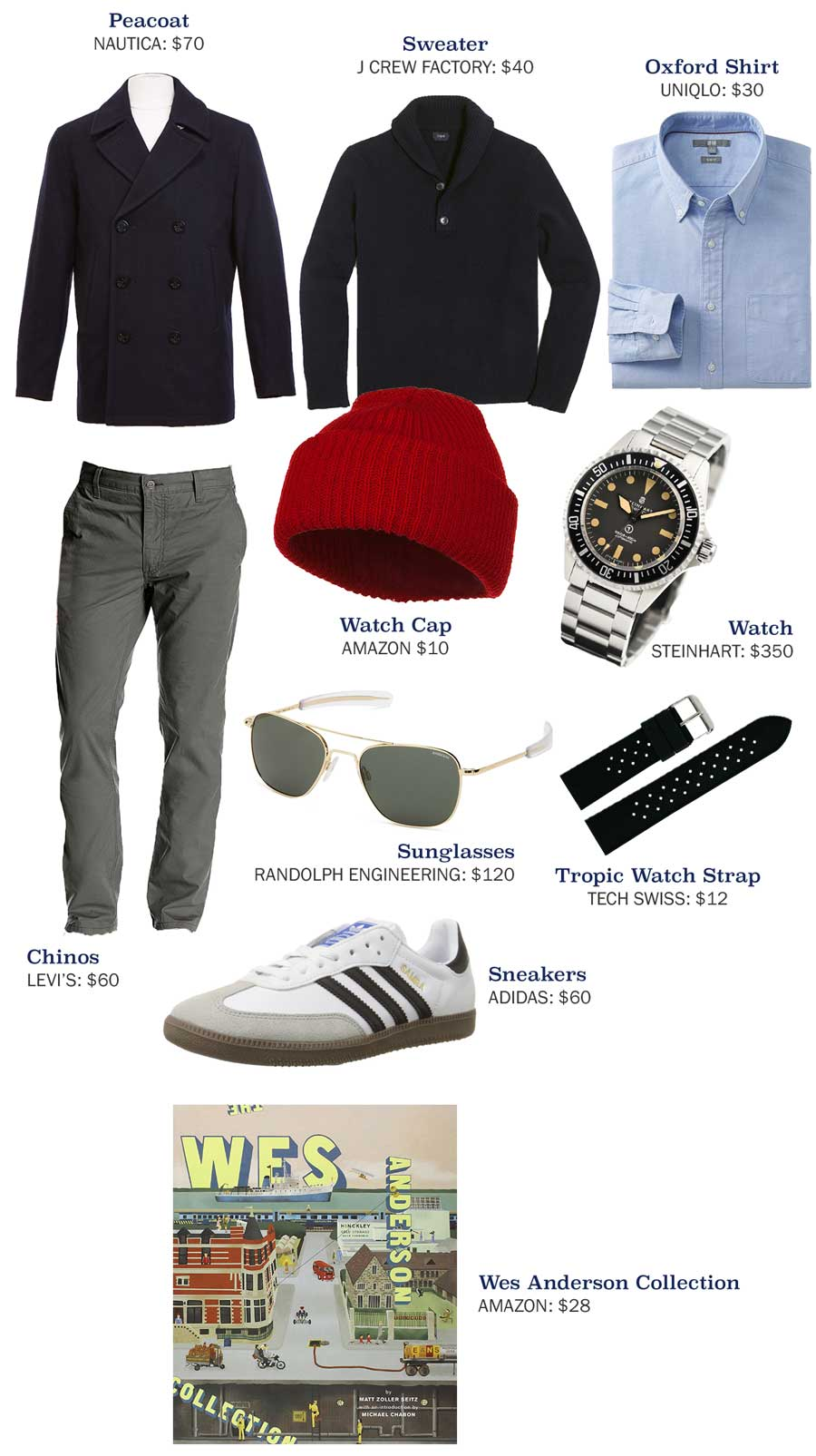 An outfit made with a red watch cap