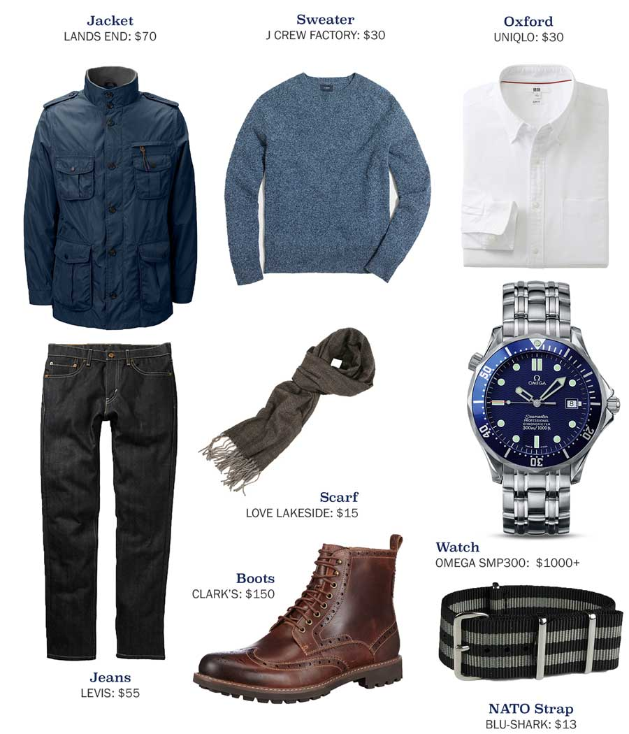 An outfit made with a blue military jacket and blue jeans