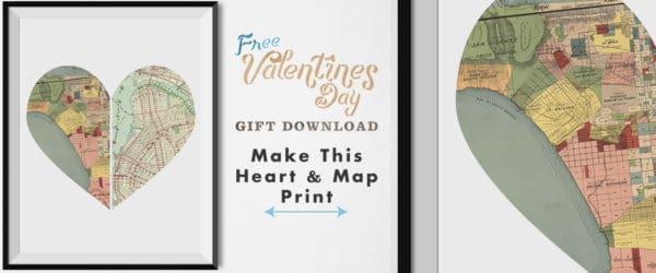 Heart map print in frame