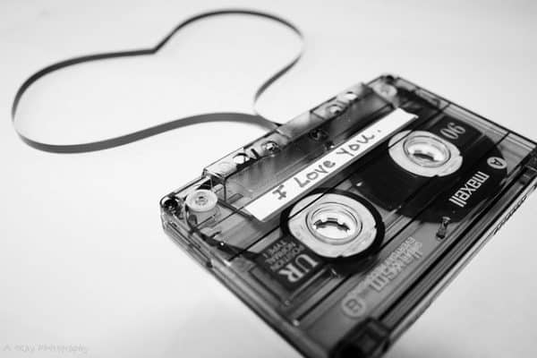 Mixtape unspooling in a heart