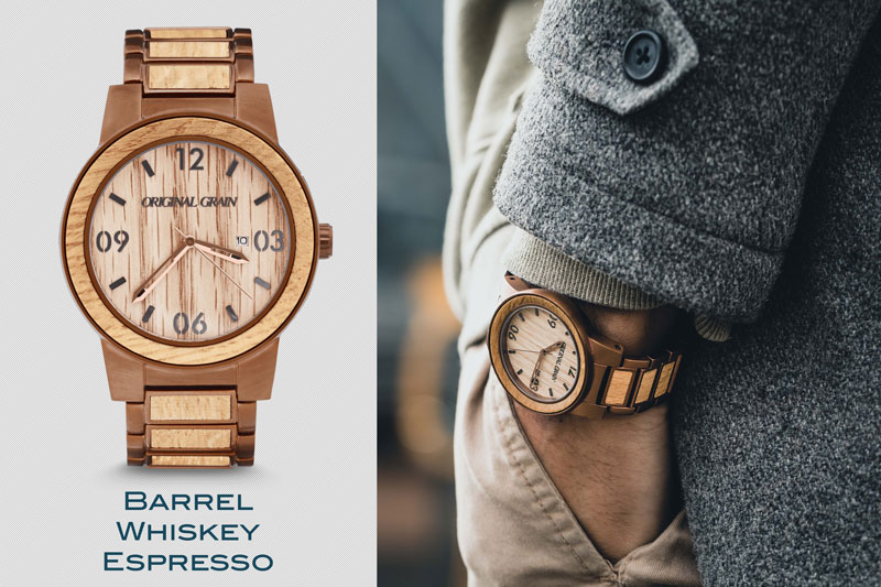 Photo showing fashion forward wood watch from Original Grain