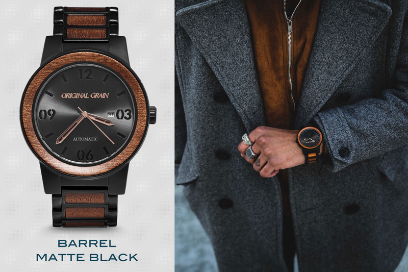 Image of fashion forward steel and wood watch from original grain