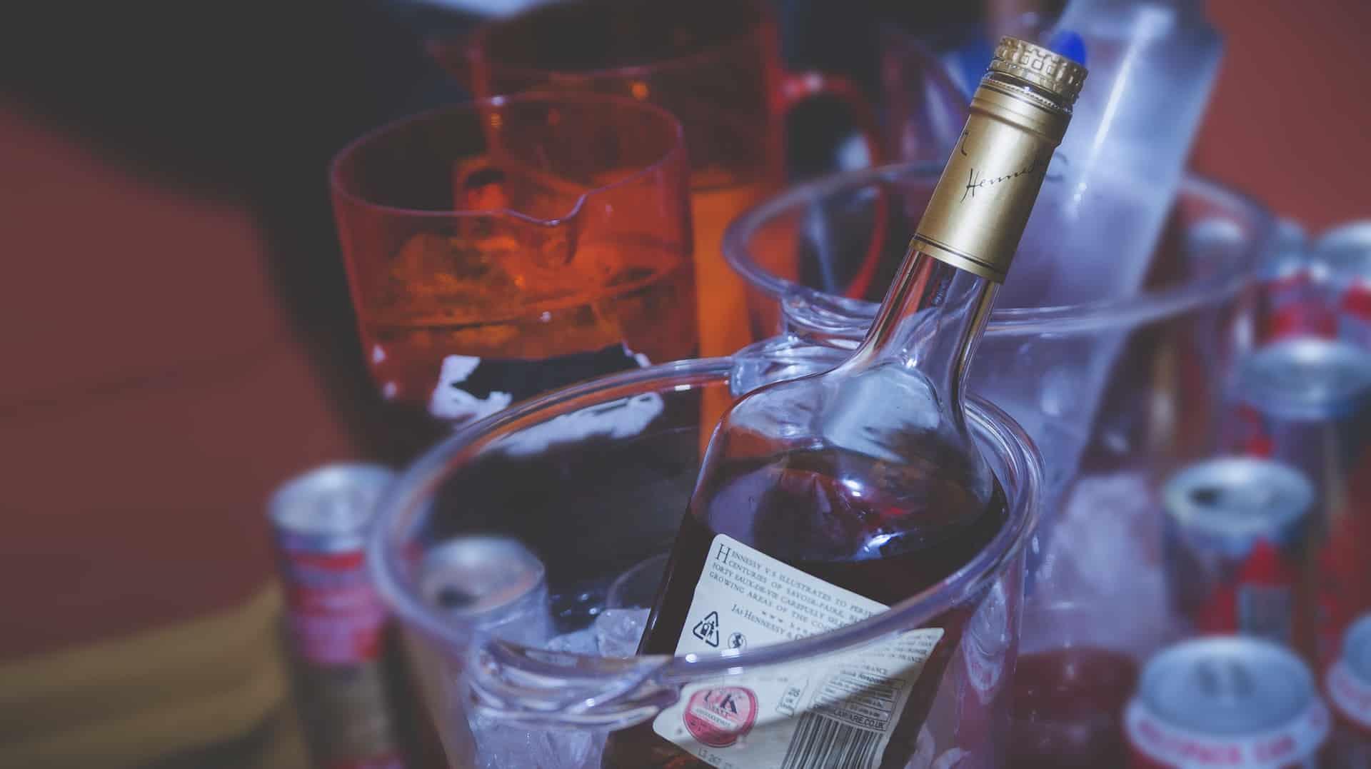 A bottle of brandy in ice