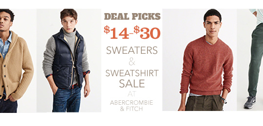 Deal Picks: $14-$30 Sweaters and Sweatshirts Sale at Abercrombie & Fitch – Today Only