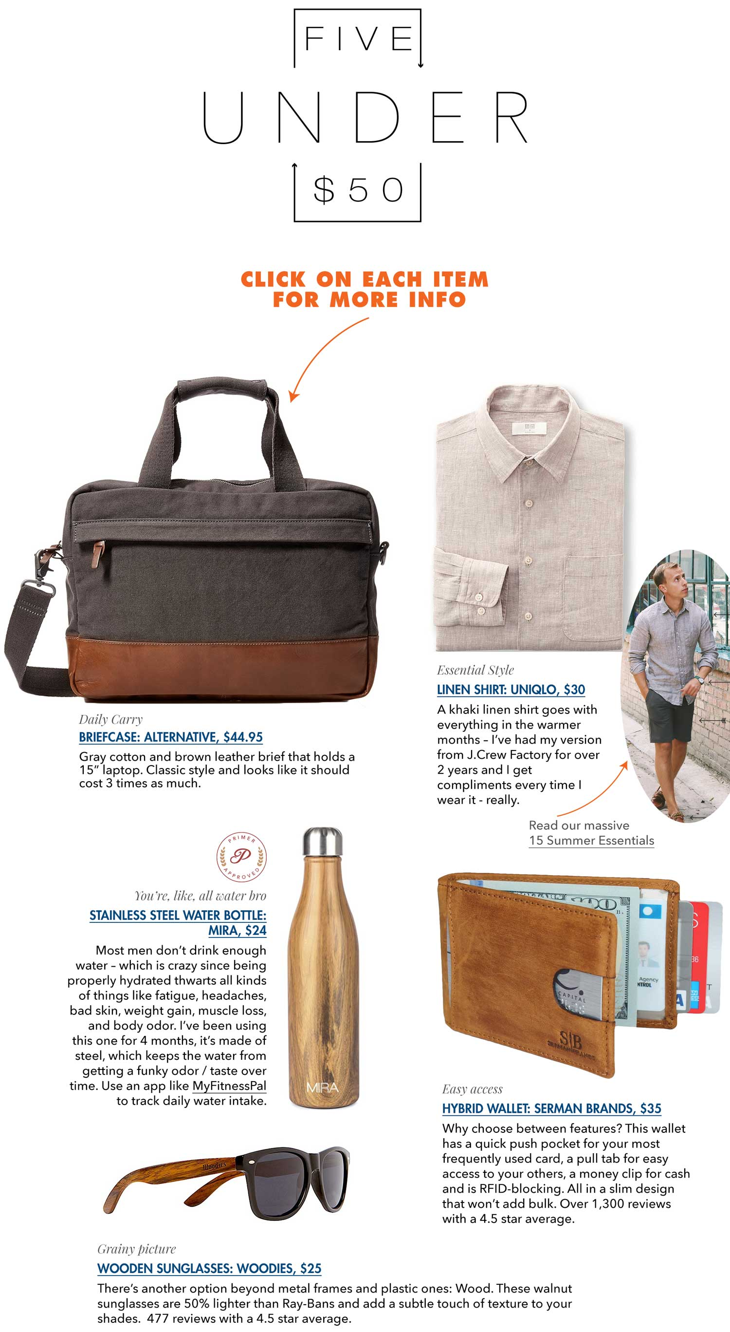 5 under 50 with briefcase linen shirt, wallet, water bottle, and sunglasses