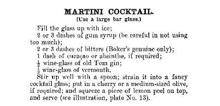 First printed recipe for a gin martini